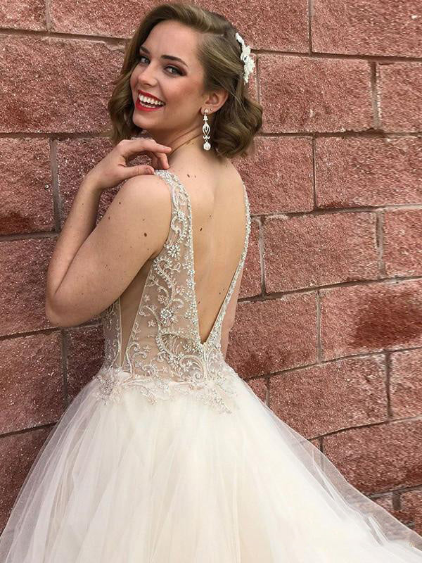 2020 Luxury White A-Line/Princess V Neck Lace Beading Backless Sleeveless Organza Tiers Prom Dresses