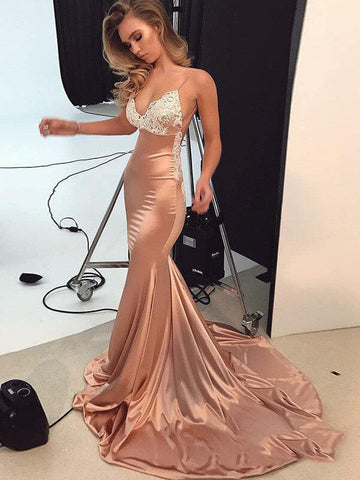 2020 Billiant Dusty-Rose Mermaid/Trumpet Satin Applique Criss Cross Court Train Prom Dresses
