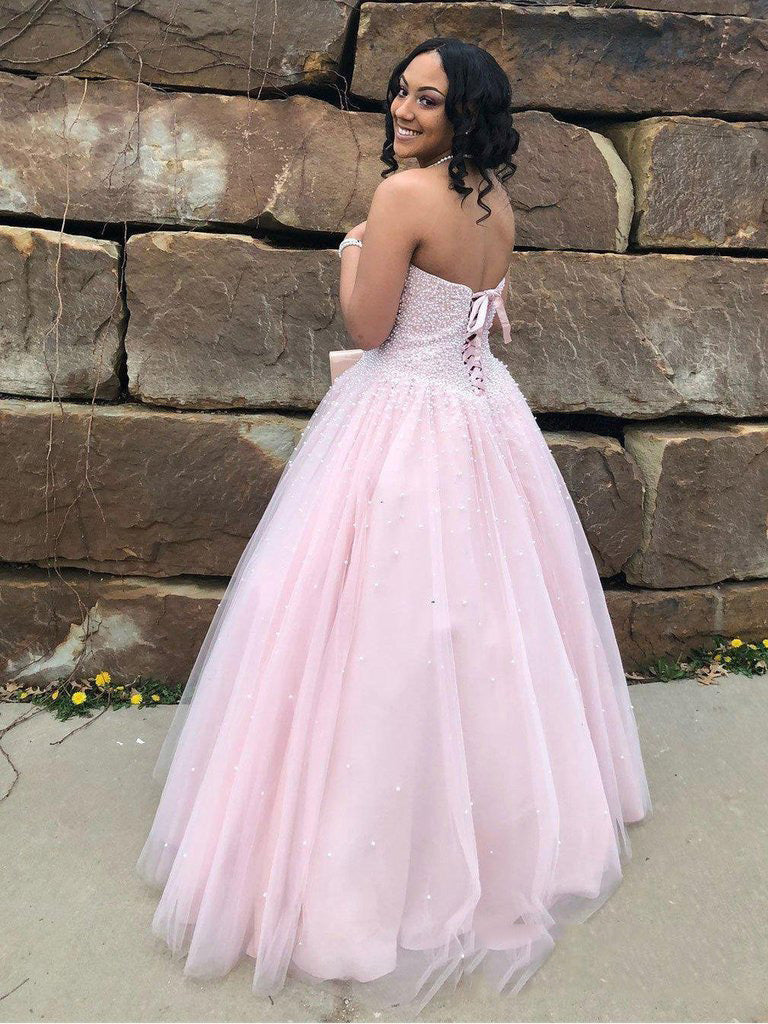 2020 Dreamy Pink Ball Gown Sweetheart Sleeveless Lace Up Beaded Tulle Prom Dresses