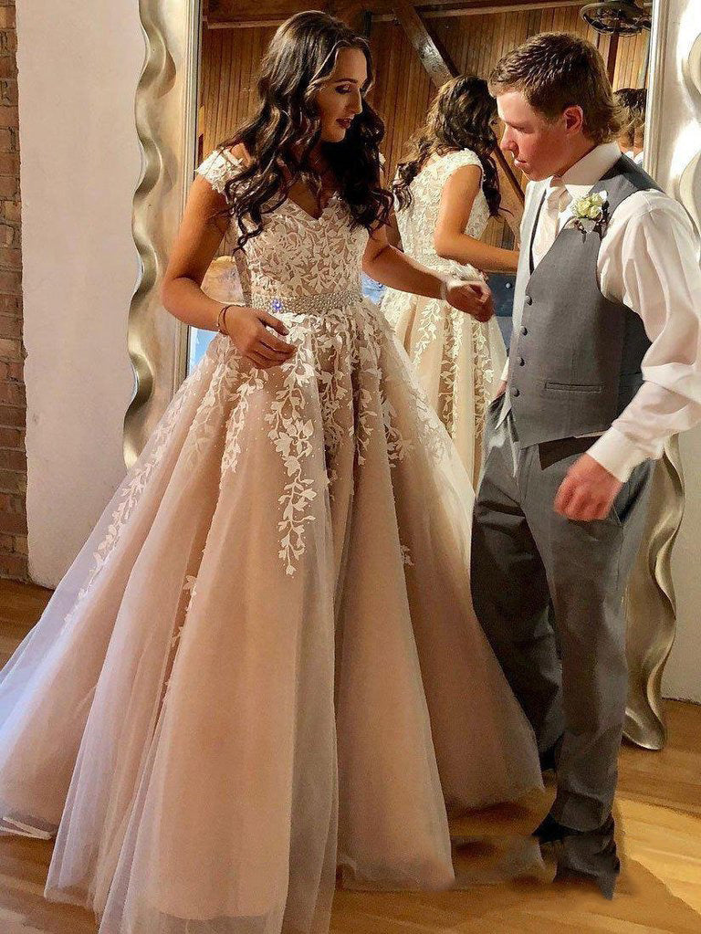 2020 Charming Dusty-Rose A-Line/Princess V Neck Applique Beaded Tulle Prom Dresses