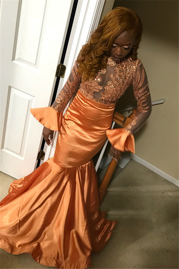 2020 Orange Mermaid/Trumpet Long Sleeve Jewel Neck Applique Satin See Through Prom Dresses