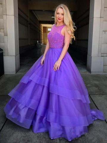 2020 Ball Gown Scoop Neck Sleeveless Beading High Low Tiers Organza Prom Dresses