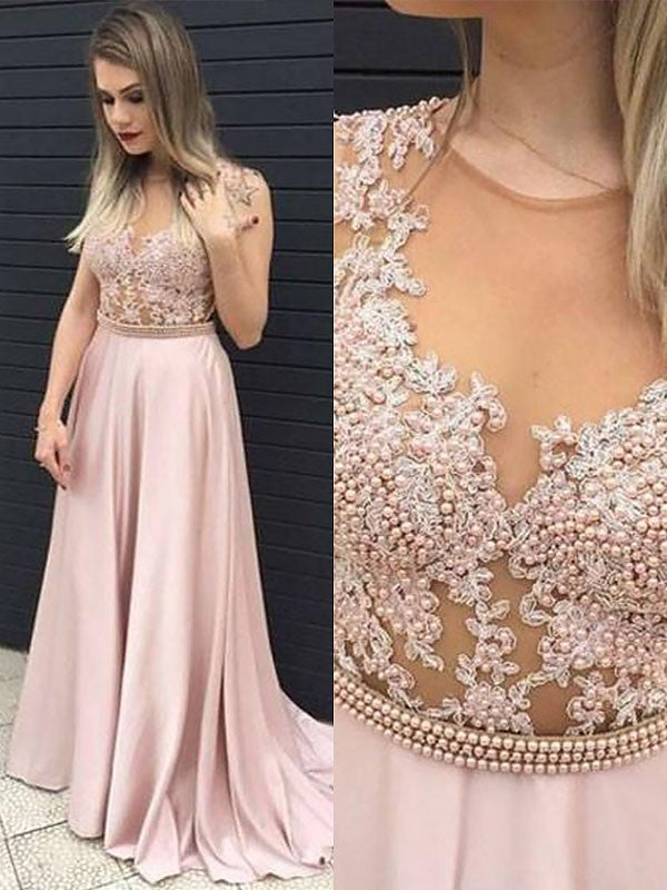 2020 A-Line/Princess Sleeveless Applique Beaded See Through Satin Prom Dresses