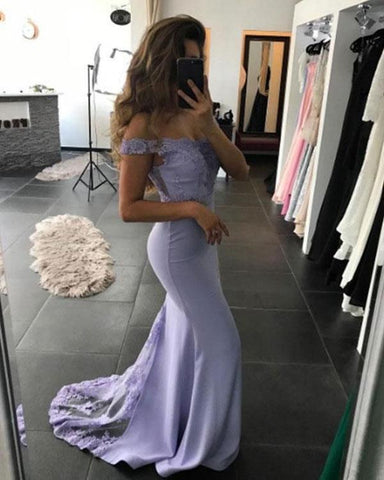 2020 Lavender Off-The-Shoulder Strapless Lace Satin Mermaid/Trumpet Prom Dresses