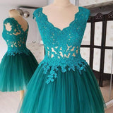 Deep V Neck Backless Hollow Ball Gown Pleated Teal Flowers Homecoming Dresses