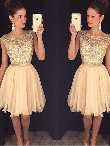 Scoop Cap Sleeve Champagne A Line Chiffon Beading Knee Length Pleated Homecoming Dresses