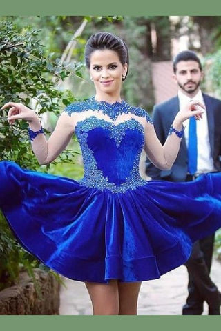 Jewel Long Sleeve A Line Royal Blue Satin Beading Appliques Short Homecoming Dresses