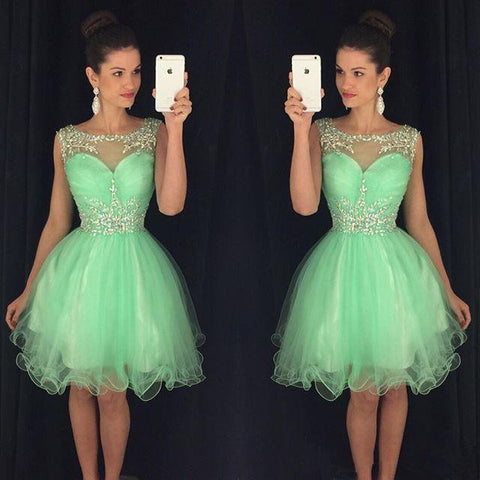 Organza Green Scoop Sleeveless Appliques Ball Gown Pleated Sheer Homecoming Dresses