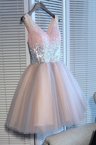 Deep V Neck Sleeveless Sequins Ball Gown Sparkle Tulle Pleated Homecoming Dresses