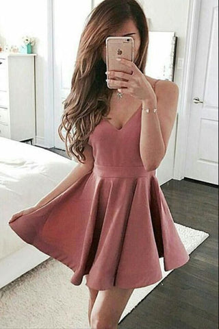 Spaghetti Straps V Neck A Line Satin Pleated Dusty Rose Short Simple Homecoming Dresses