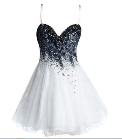 White Sweetheart Spaghetti Straps Sexy A Line Organza Pleated Beading Homecoming Dresses