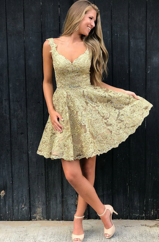Sleeveless V Neck Appliques Gold A Line Lace Short Pleated Homecoming Dresses