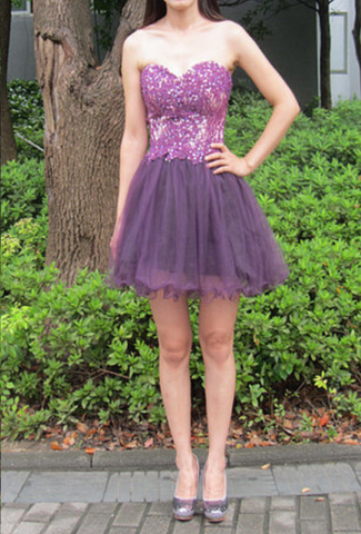 Lilac Strapless Sweetheart Appliques A Line Organza Pleated Homecoming Dresses
