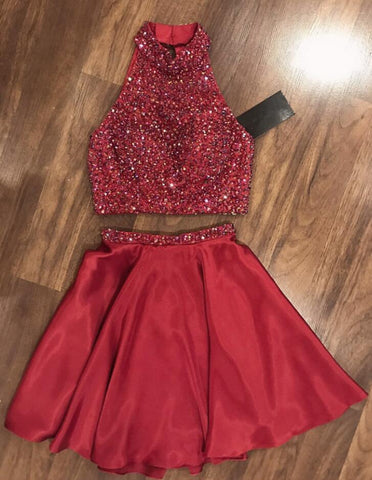 Halter Sleeveless Red A Line Two Pieces Beading Satin Pleated Short Homecoming Dresses