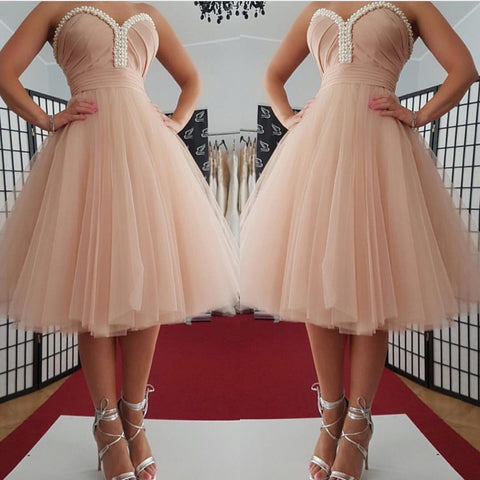 Pearls Strapless Sweetheart Backless A Line Tulle Pleated Ruched Homecoming Dresses