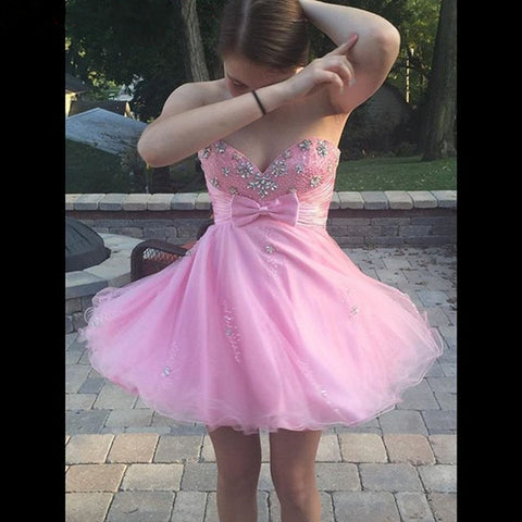 Organza Pink Strapless Sweetheart Rhinestone Bowknot Backless Short Homecoming Dresses