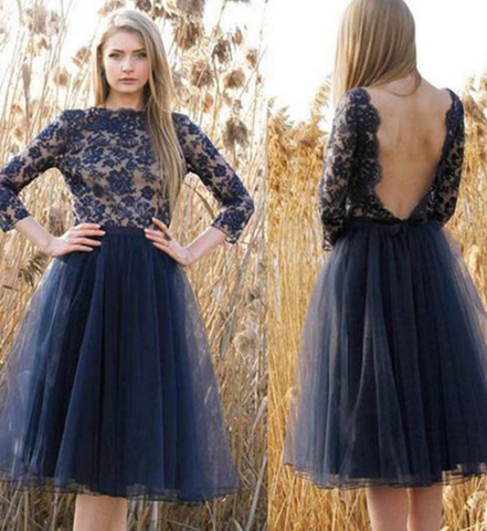 Jewel Long Sleeve Dark Navy Lace Backless Flowers A Line Tulle Pleated Homecoming Dresses