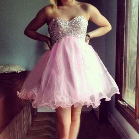 Pink Organza Pleated A Line Strapless Sweetheart Beading Short Homecoming Dresses