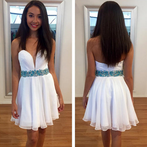 Sweetheart White Strapless Backless A Line Chiffon Pleated Rhinestone Homecoming Dresses