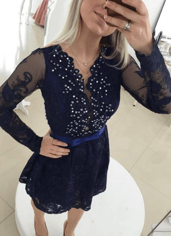 Short V Neck A Line Lace Appliques Flowers Beading Long Sleeve Black Homecoming Dresses