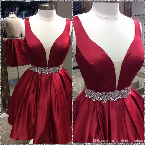 Deep V Neck Sleeveless Burgundy Ball Gown Pleated Satin Backless Homecoming Dresses