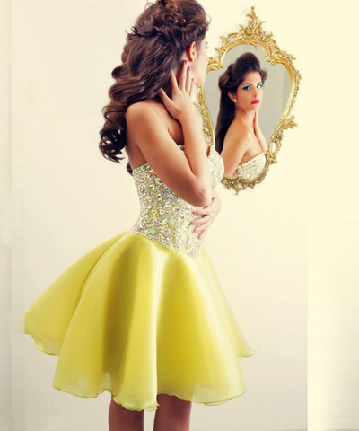 Rhinestone Sweetheart Strapless A Line Chiffon Pleated Short Backless Homecoming Dresses