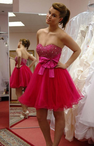 Sweetheart Backless Fuchsia Beading Bowknot Ball Gown Organza Homecoming Dresses
