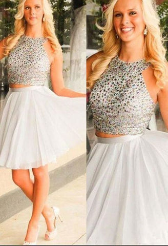 Halter Sleeveless White Beading Two Pieces A Line Chiffon Homecoming Dresses