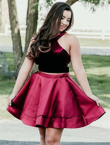 Halter Sleeveless Two Pieces Satin Burgundy Pleated Short Homecoming Dresses