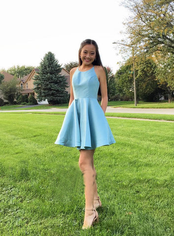 Halter Sleeveless A Line Blue Satin Simple Pleated Short Homecoming Dresses