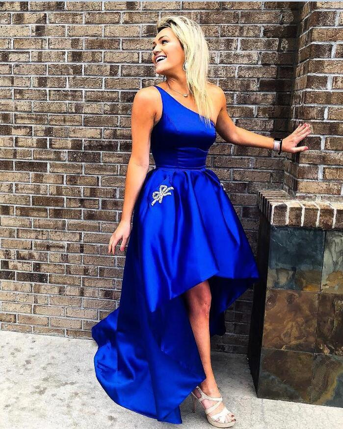 Royal Blue One Shoulder High Low Satin Pleated Sleeveless Ball Gown Homecoming Dresses