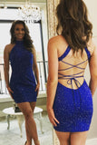 Halter Royal Blue Sleeveless Criss Cross Cut Out Backless Short Sexy Sheath Homecoming Dresses