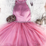 Halter Tulle Pink Sleeveless Short Pleated Simple Beading A Line Homecoming Dresses