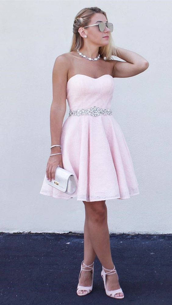 Strapless Sweetheart A Line Rhinestone Pleated Blushing Pink Homecoming Dresses