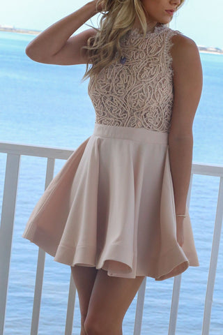 Ivory Sleeveless A Line Short Halter Pleated Satin Lace Homecoming Dresses