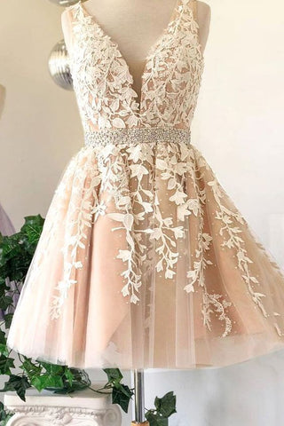 Deep V Neck Ivory Sleeveless A Line Tulle Lace Appliques Pleated Homecoming Dresses