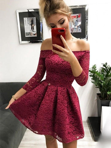 3/4 Sleeve Lace Off The Shoulder A Line Pleated Short Burgundy Flowers Homecoming Dresses