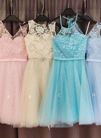 Lace Tulle A Line Pleated Flowers Sleeveless Knee Length Homecoming Dresses