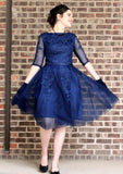 Bateau Navy Blue Half Sleeve Tulle Appliques A Line Pleated Elegant Homecoming Dresses