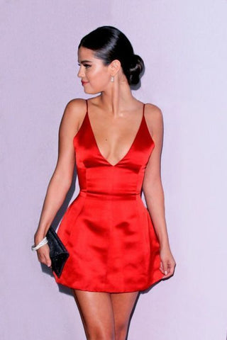Spaghetti Straps Deep V Neck A Line Satin Short Sexy Red Simple Homecoming Dresses