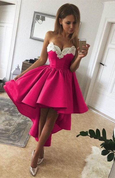 High Low Fuchsia A Line Strapless Sweetheart Appliques Pleated Homecoming Dresses