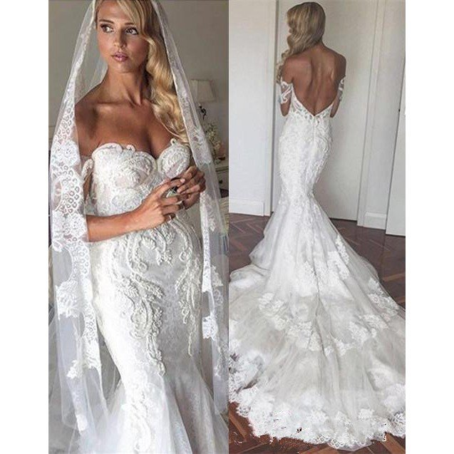 Sexy Mermaid/Trumpet Sweetheart Backless Tiered Lace Short Sleeves Long 2021 Wedding Dresses / Bridal Gowns