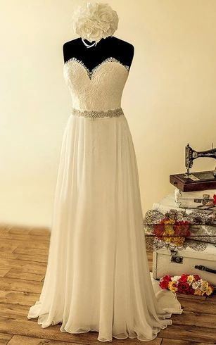 Elegant A Line/Princess Sweetheart Chiffon Lace Beaded Sash Beach Wedding Dresses / Bridal Gowns 2021