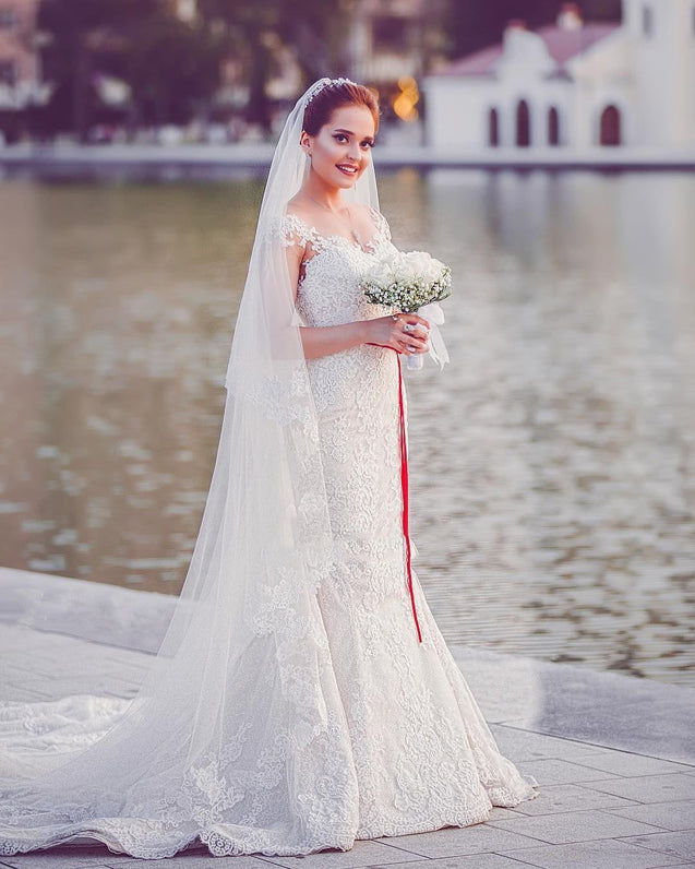 2021 New Arrival Mermaid/Trumpet Capped Sleeves Red Sash Lace Wedding Dresses / Bridal Gowns