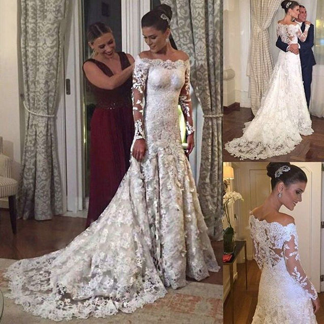 2021 Cheap A Line/Princess Long Sleeves Off Shoulder Lace Classic Wedding Dresses / Bridal Gowns