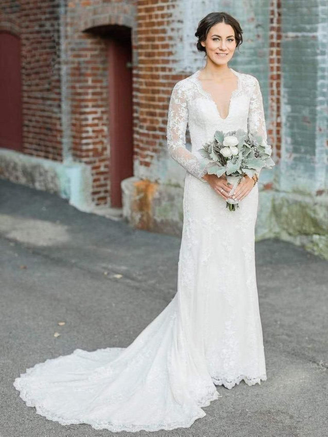 Elegant Sheath Long Sleeves Back See Through Lace Long Wedding Dresses / Bridal Gowns 2021
