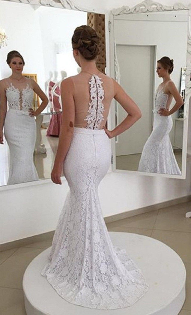 2021 Charming Mermaid/Trumpet See Through Back Lace Beaded Wedding Dresses / Bridal Gowns