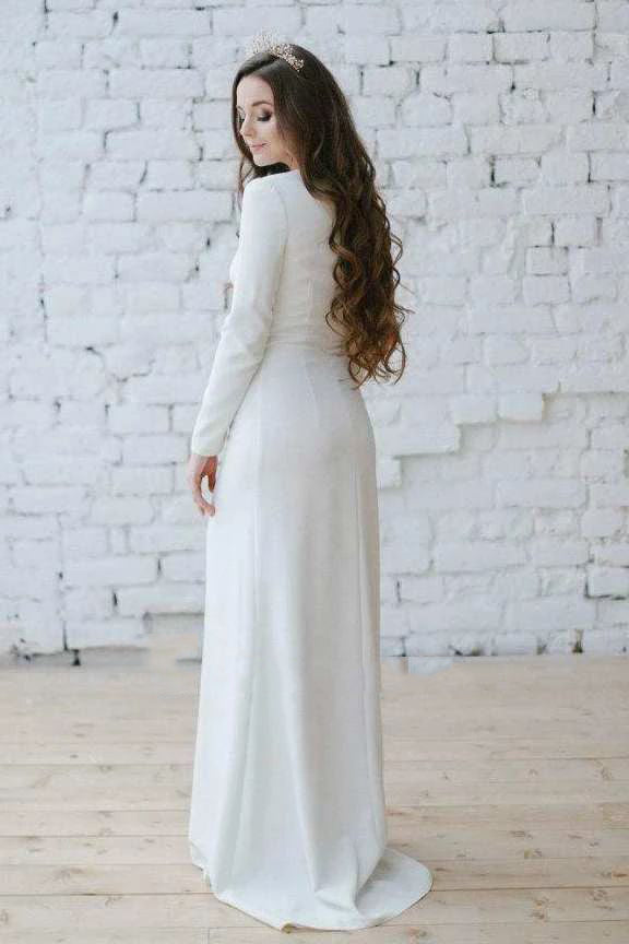 2021 New Arrival Sheath Long Sleeves Bateau Satin Cheap Wedding Dresses / Bridal Gowns
