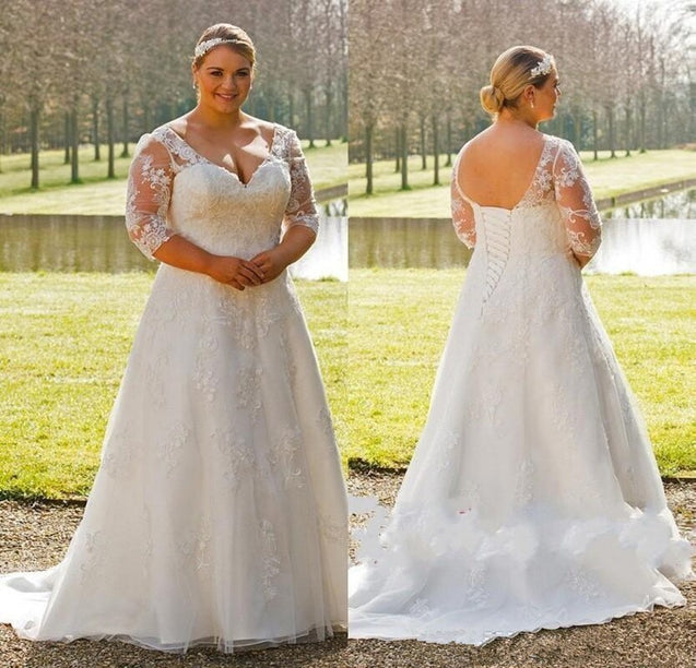 2021 New Arrival A Line Long Sleeves Lace Up Plus Size Wedding Dresses With Appliques