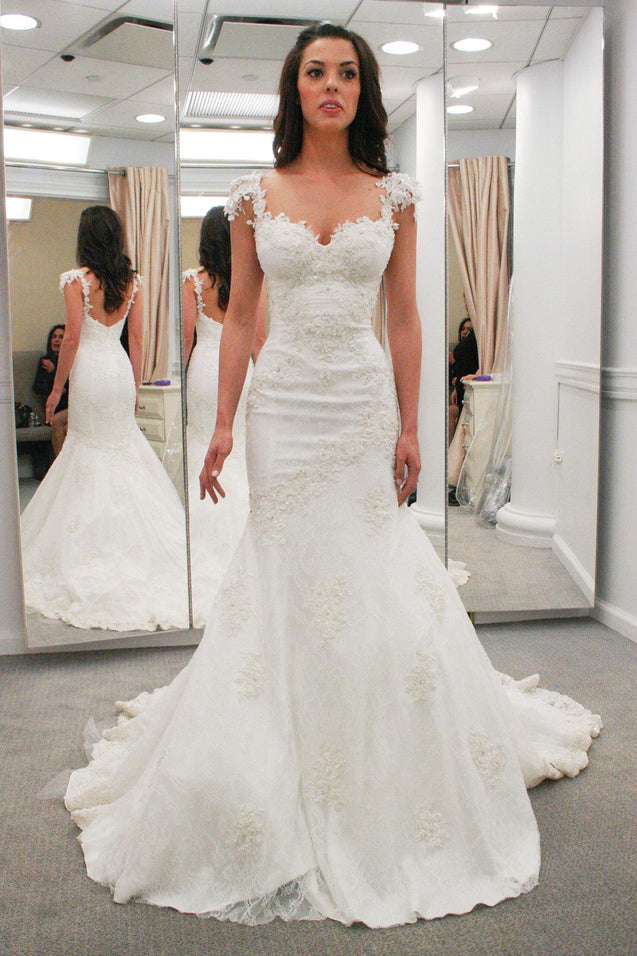 Amazing Mermaid Sweetheart Capped Sleeves Lace Wedding Dresses 2021